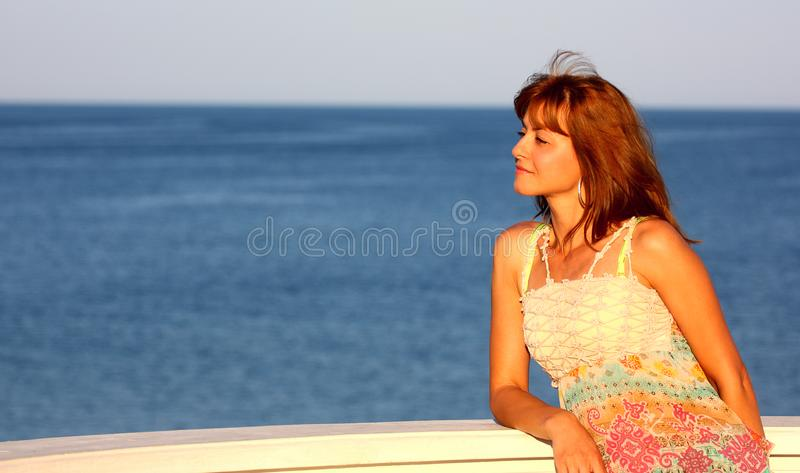 Woman and sea,ocean stock images
