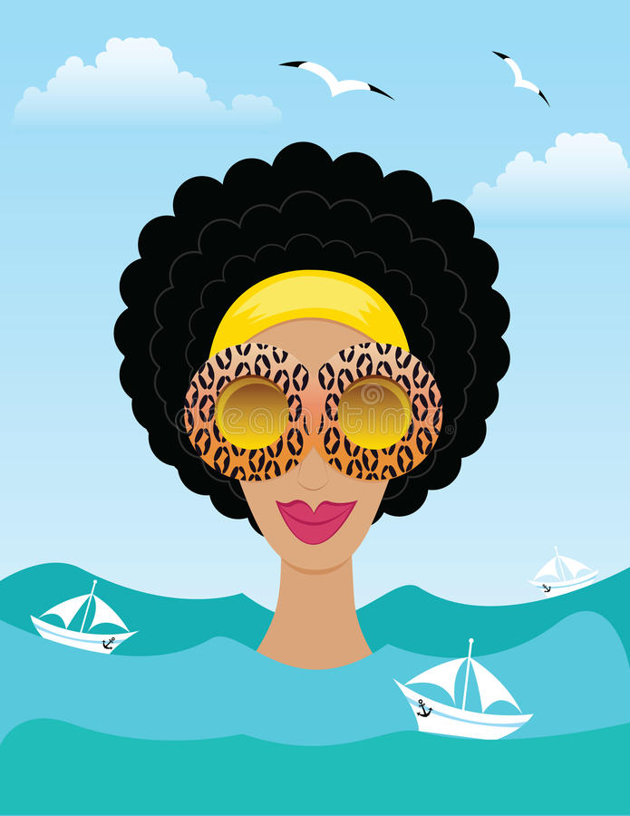 Download Woman on the sea or ocean stock vector. Image of painting - 42001942