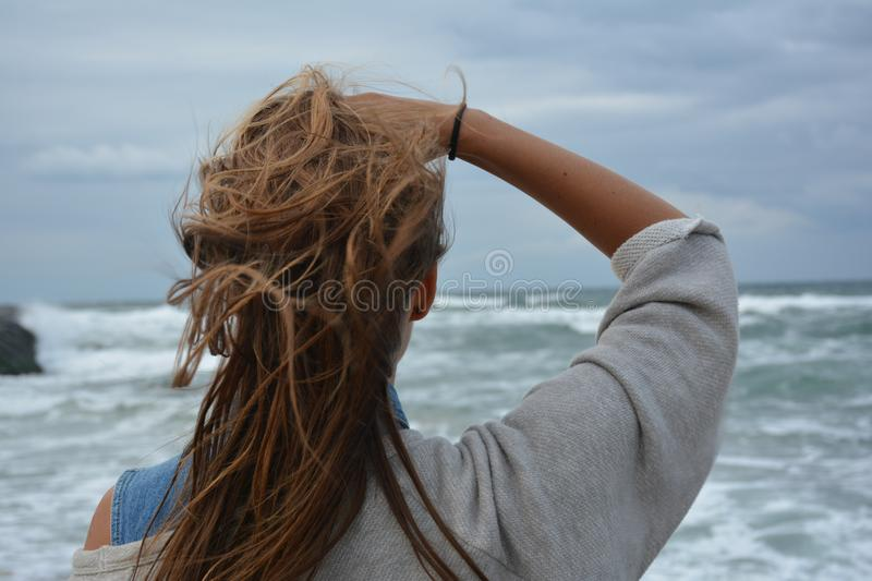 Woman by sea royalty free stock images