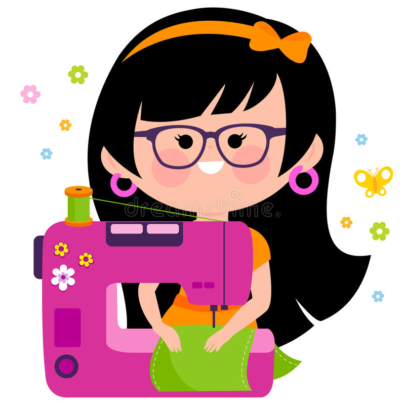 Woman seamstress using her sewing machine royalty free illustration