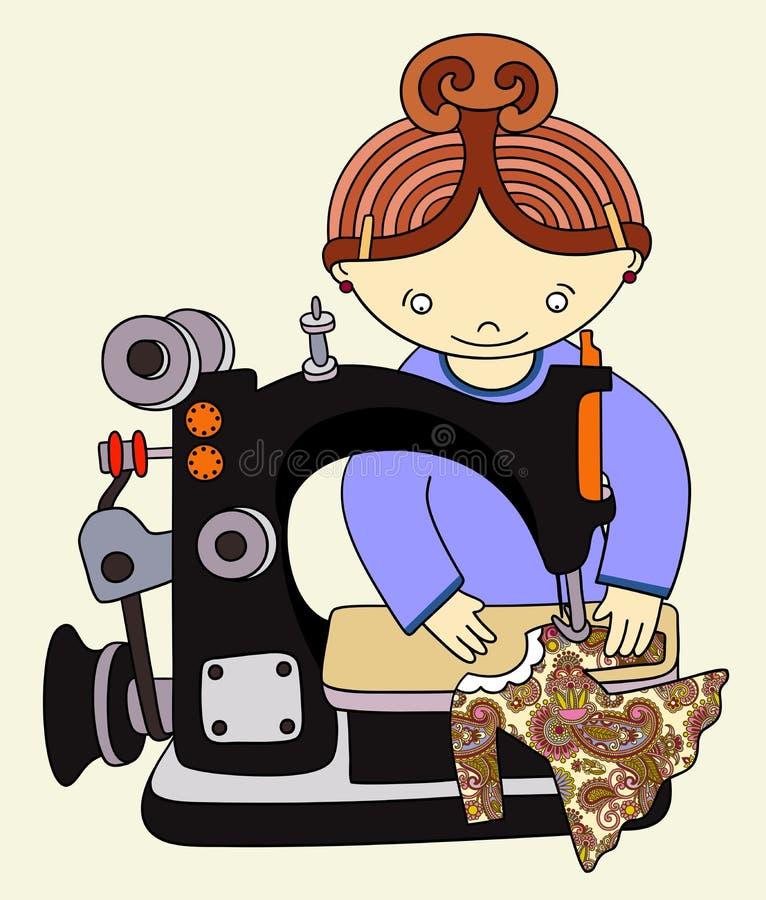 Woman seamstress work royalty free illustration