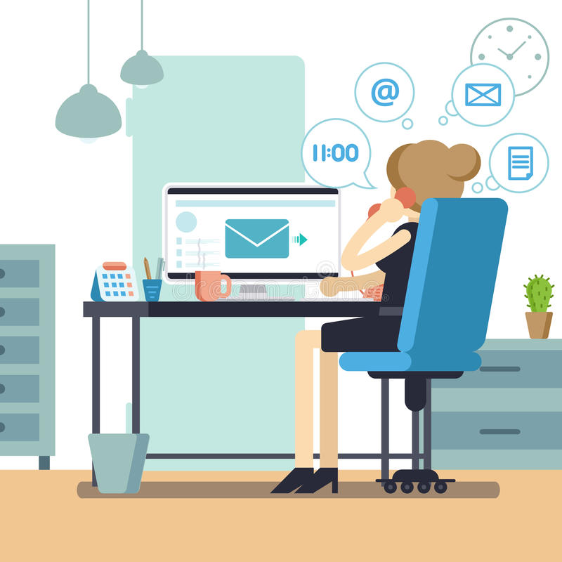 Woman secretary or female personal assistant busy. Young office manager or receptionist multitasking. Business lady or company cle vector illustration