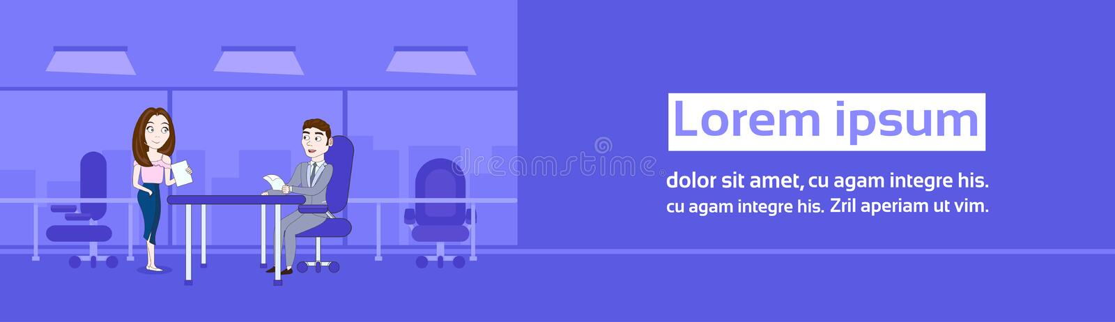 Woman Secretary Giving Boss Sitting At Desk Contracts or Documents Over Silhouette Office Background Horizontal Banner royalty free illustration