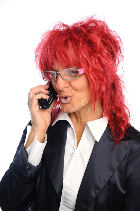 Woman secretary with red hair royalty free stock photos