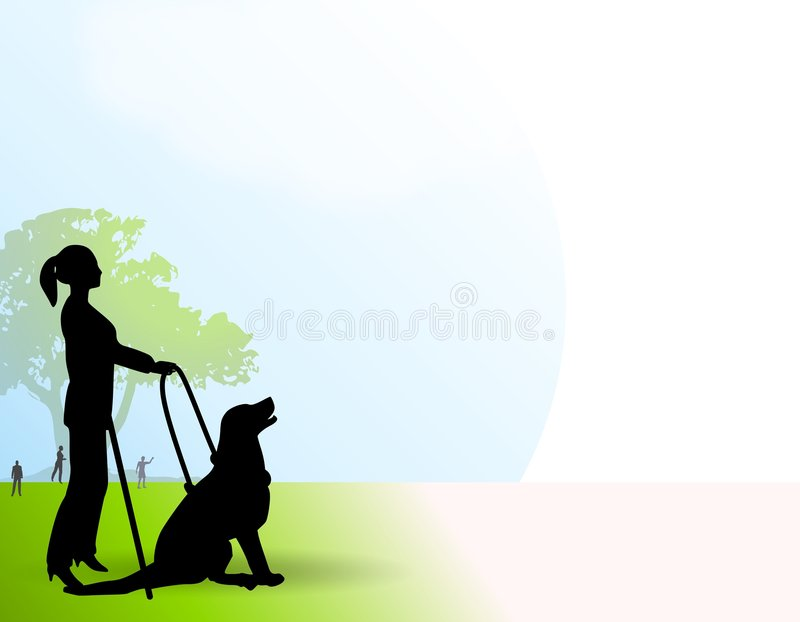 Woman With Seeing Eye Dog. An illustration featuring the silhouettes of a blind woman in the park with her seeing-eye dog