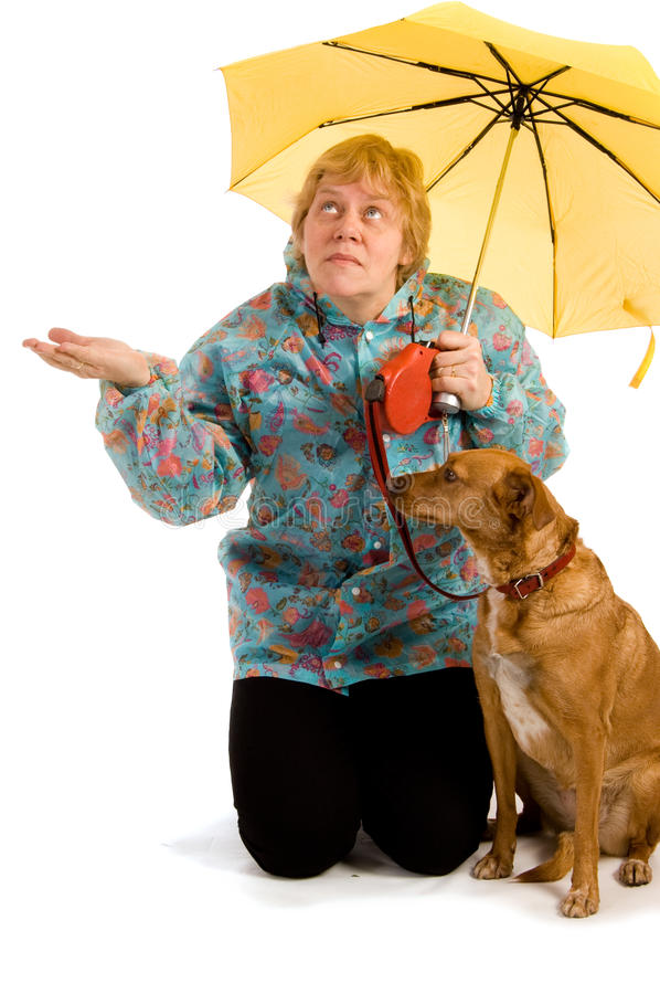 Woman seeing whether it rains