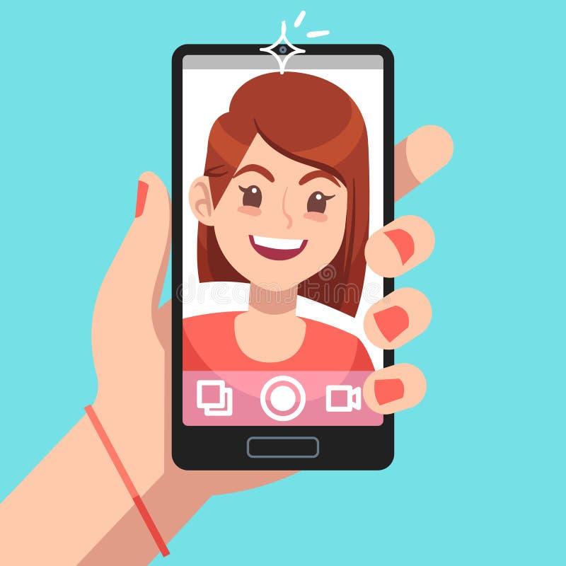 Woman selfie. Beautiful girl taking self photo face portrait on smartphone. Phone camera addiction cartoon vector stock illustration