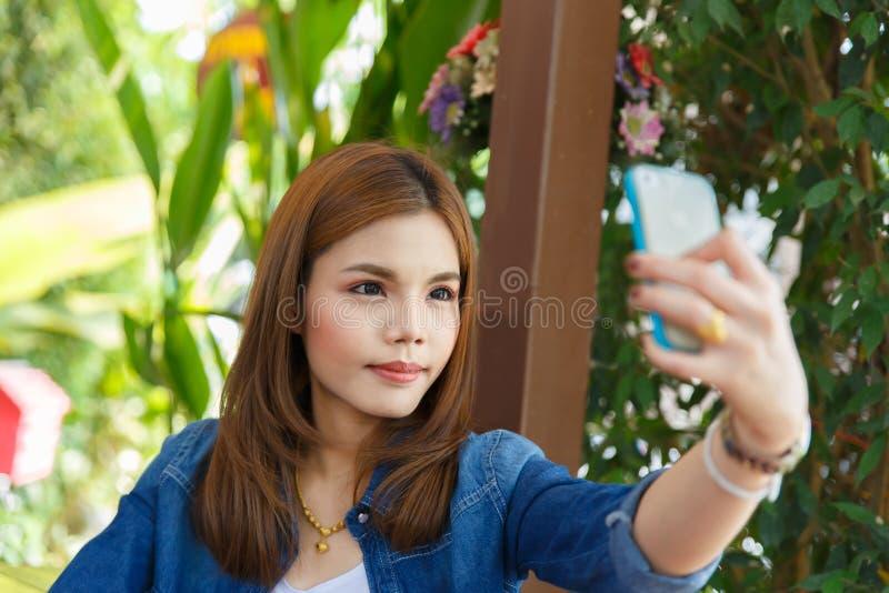 Woman selfie stock image