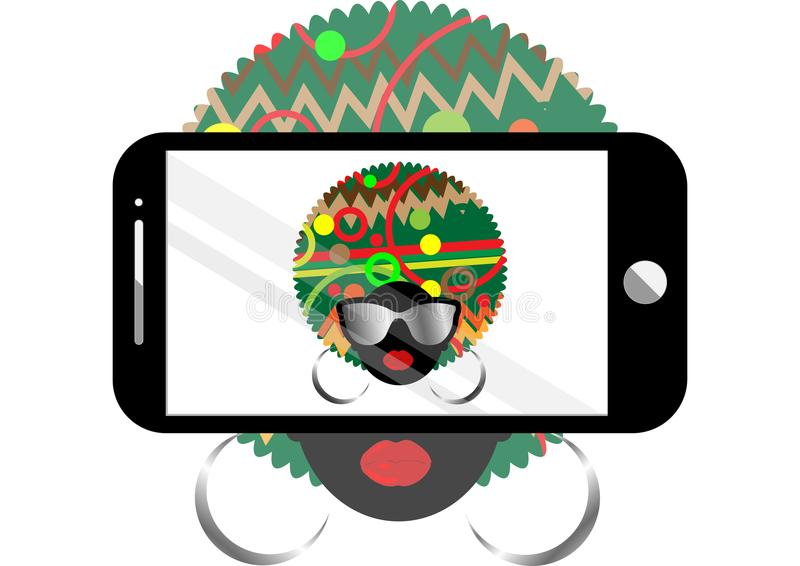 Woman selfie vector concept background. Trendy black afro woman with sunglasses taking a self portrait on smart phone vector illustration