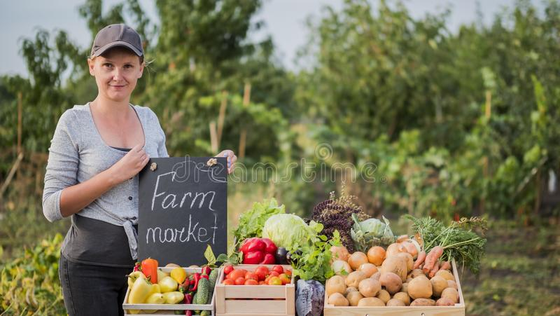 Woman seller at the farmers market. Fresh Vegetable Trade stock image