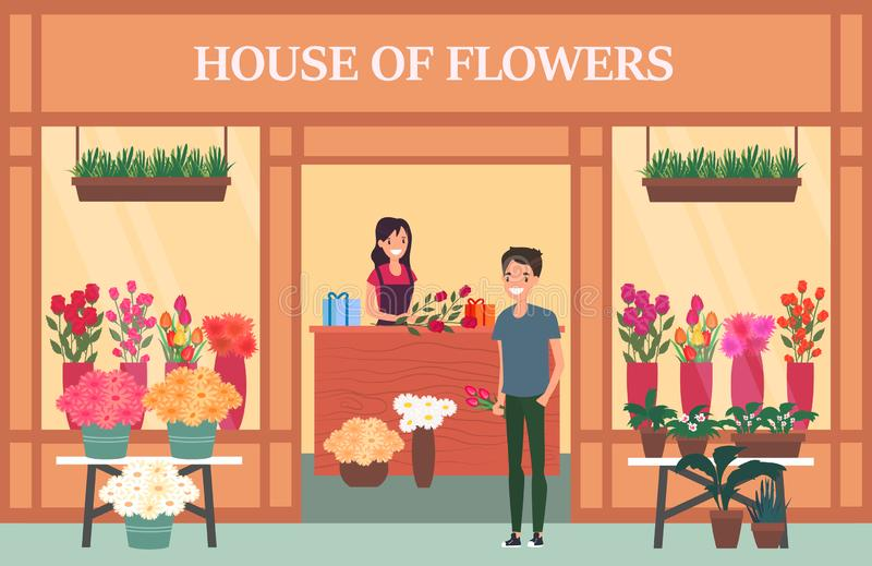 Woman seller at flower shop with bouquet vector illustration