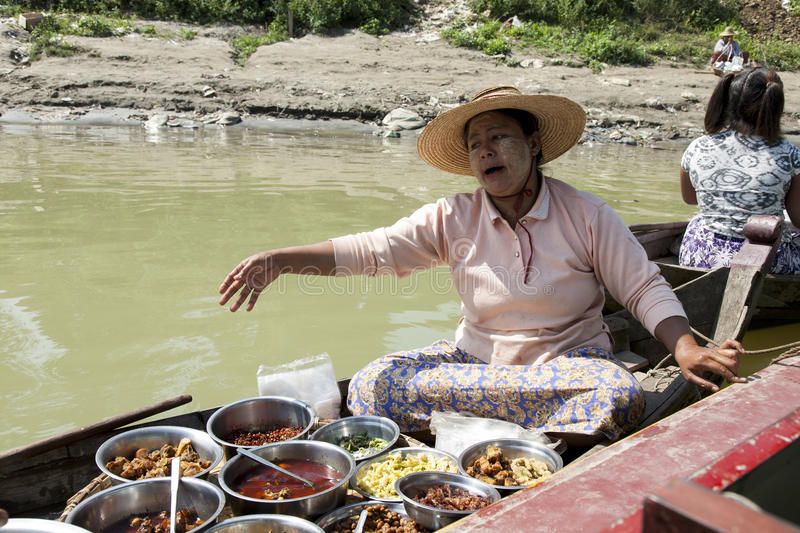 Woman Selling Burmese Food Editorial Photo
