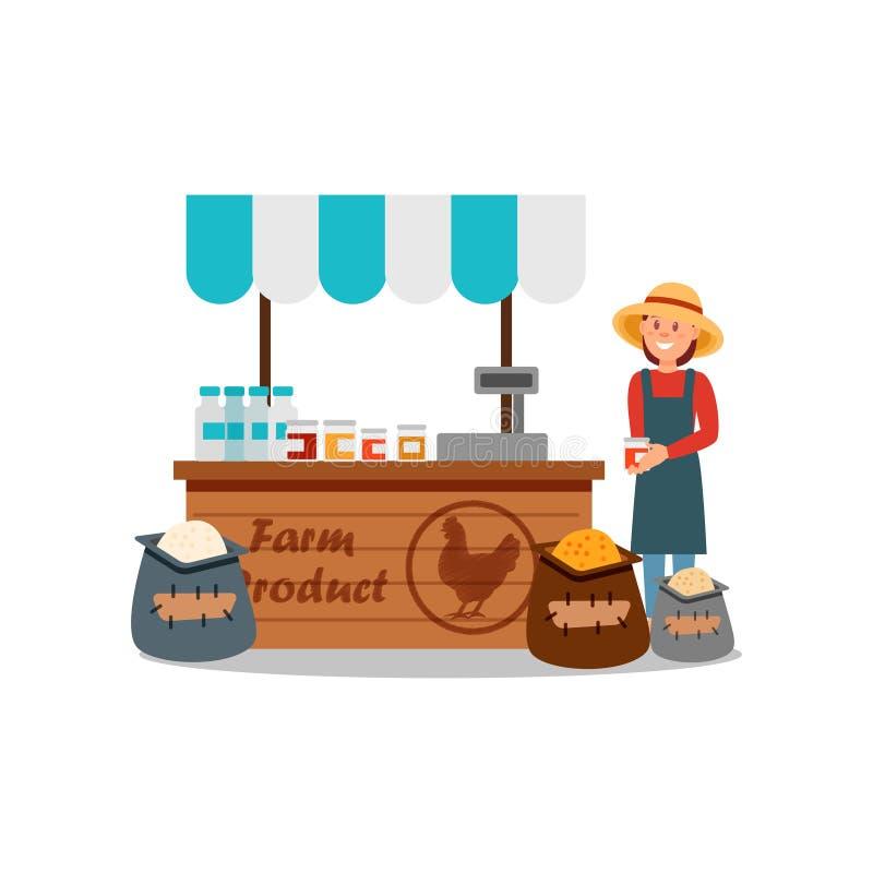 Woman selling different farm products grain, fresh milk, honey or jam. Local farmers market. Flat vector design stock illustration
