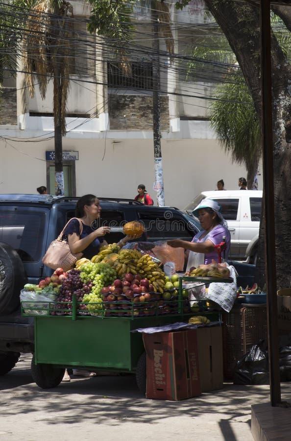 Woman selling fruits in a street of Santa Cruz, Bolivia royalty free stock photos