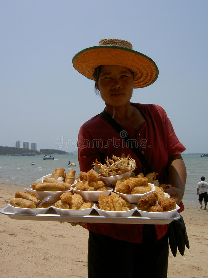 Woman Selling Thai Food, Thailand. Editorial Photography
