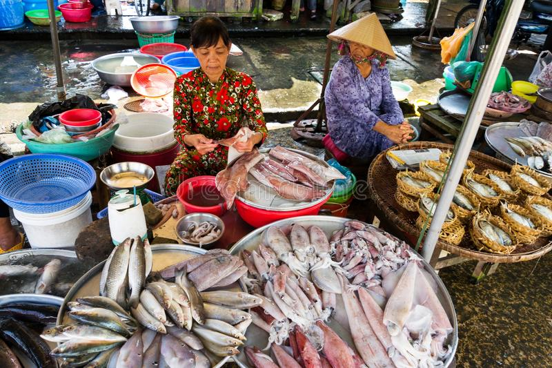 Woman sells fish and seafood on street market in My Tho, Vietnam royalty free stock image