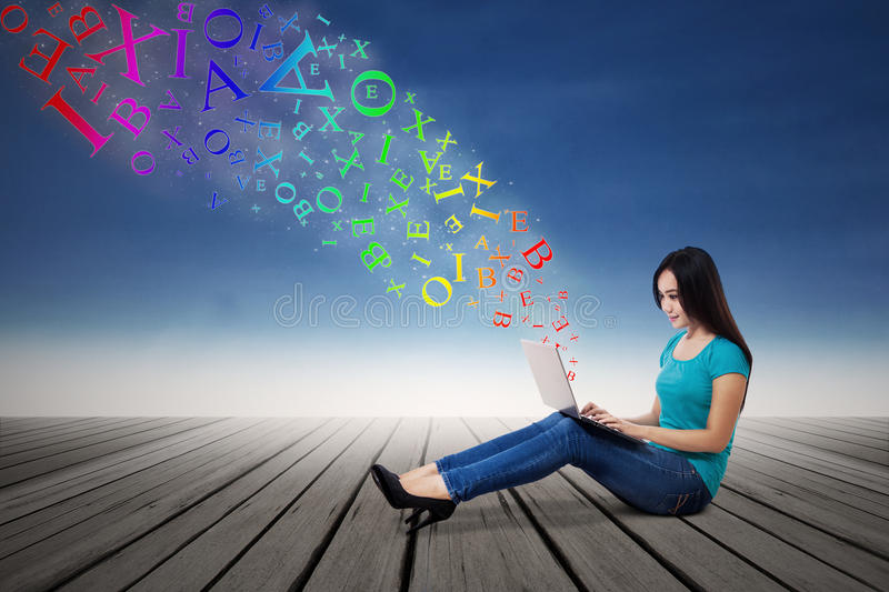 Download Woman Sending E-mail With Laptop Stock Illustration - Image: 43345698