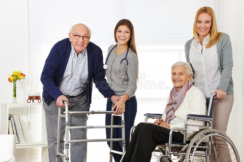 Woman with senior couple getting royalty free stock photos