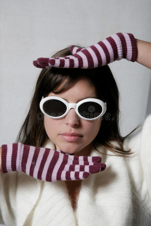 Download Woman sense stock image. Image of glasses, girl, stripe - 16143975