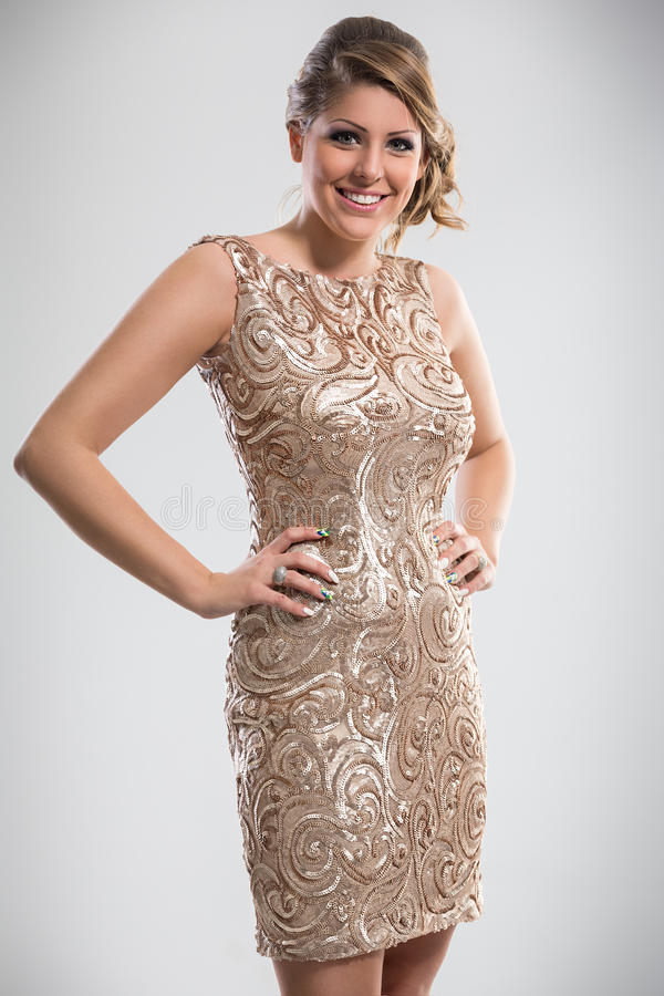 Woman in sequin dress. Beautiful woman wearing in sequin dress stock photos