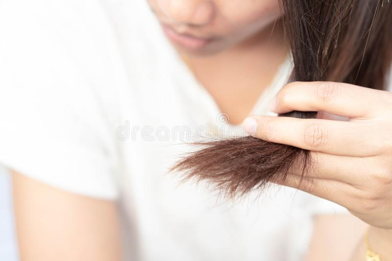 Woman serious hair loss problem for health care shampoo and beauty product concept royalty free stock photos