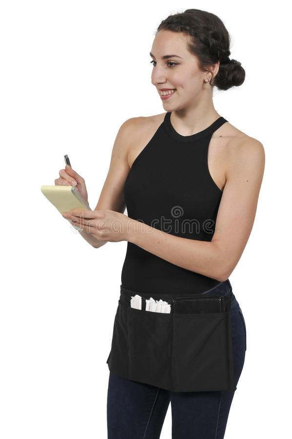 Woman server or waitress stock image