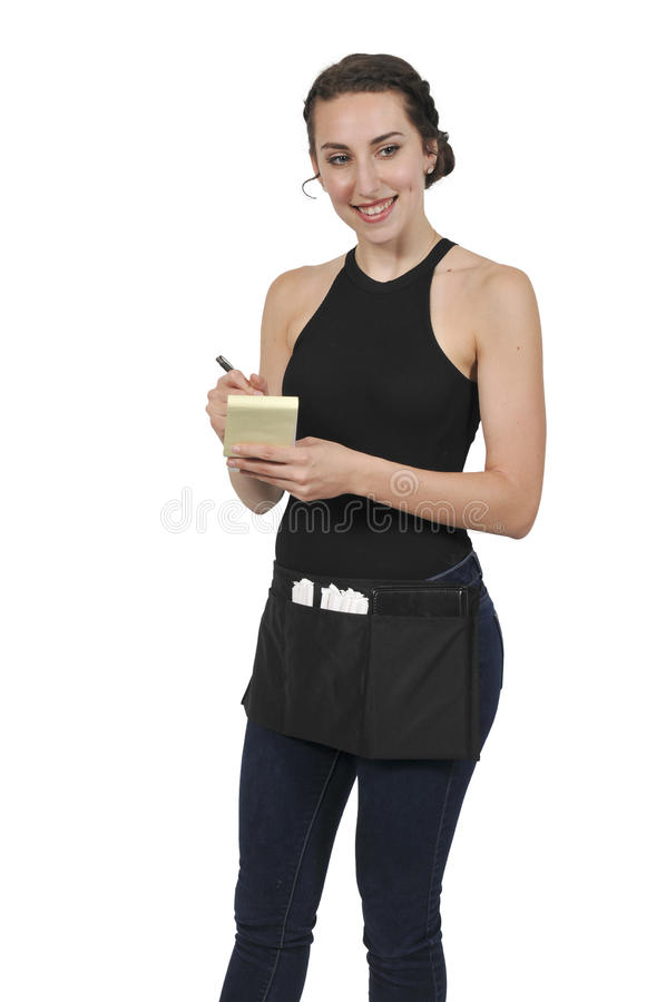 Woman server or waitress royalty free stock image