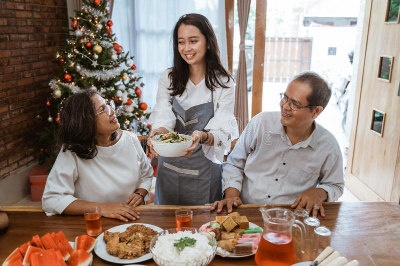 Woman serving traditional food for family during christmas stock photos