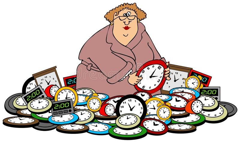 Woman setting clocks. This illustration depicts a woman setting the time while standing in a stack of clocks vector illustration