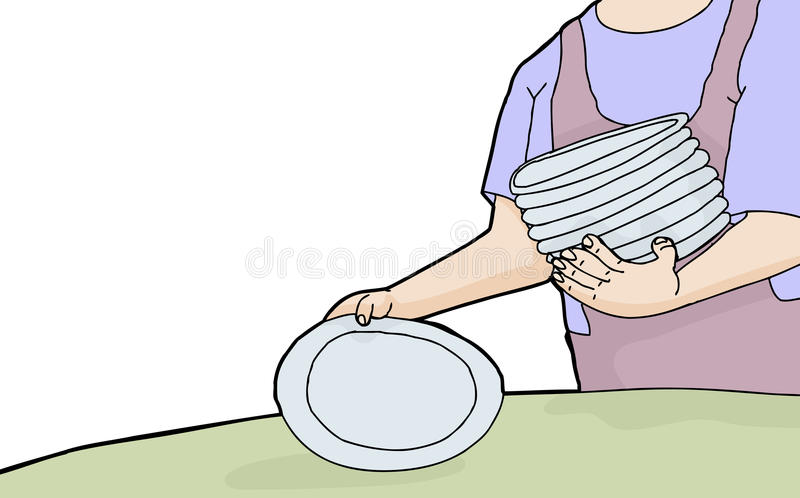 Woman Setting Plates. Cartoon of woman holding stack of plates stock illustration