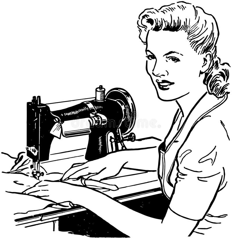 Woman Sewing royalty free illustration