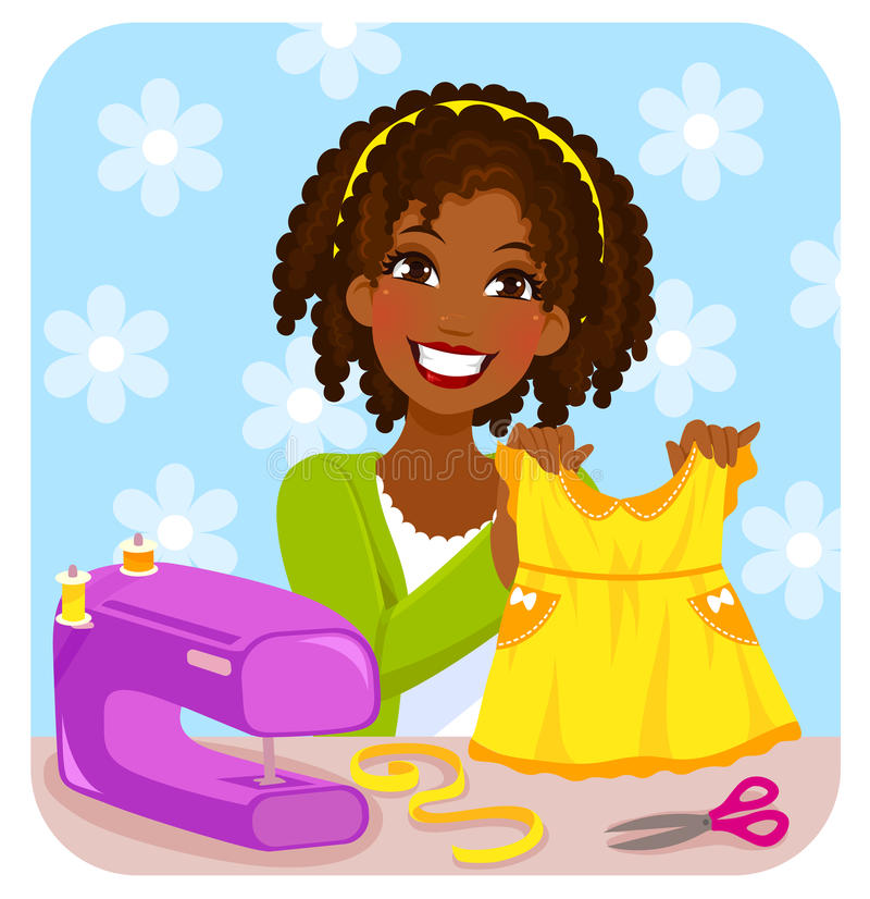 Woman sewing a dress. Young woman sewing a dress for a little girl royalty free illustration