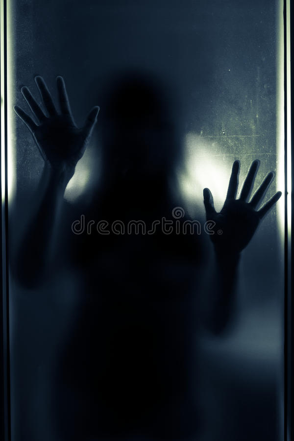 Download Woman Shadow Behind Translucent Mirror. Stock Photo - Image of arms, darkness: 48445306