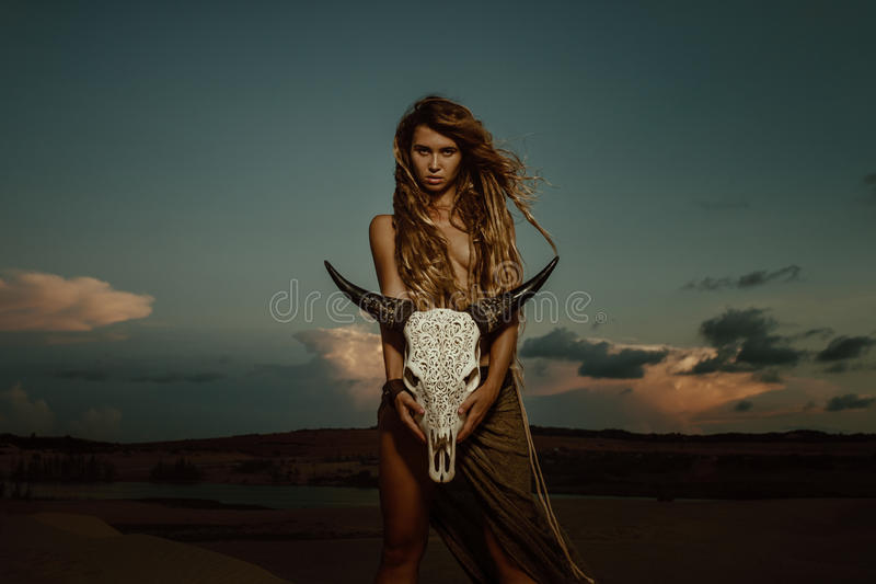 Woman Shaman Hold Cow Skull Stock Photo - Image of lady ...