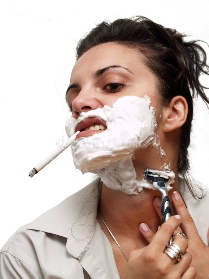 Download Woman shaving stock image. Image of lips, shaver, teeth - 3018455