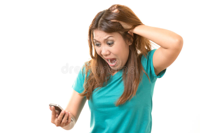 Woman shocked. From the mobile royalty free stock photo