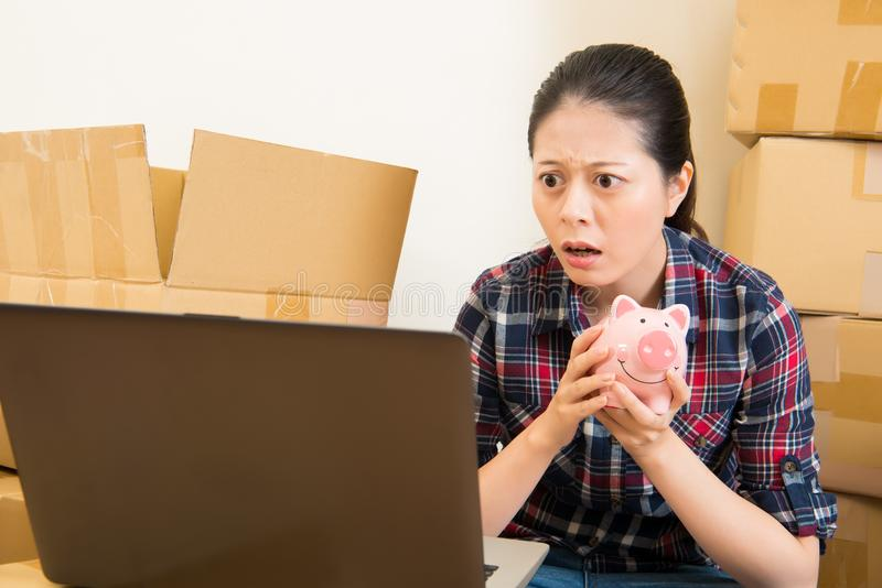 Woman shocked real estate price increases royalty free stock photo