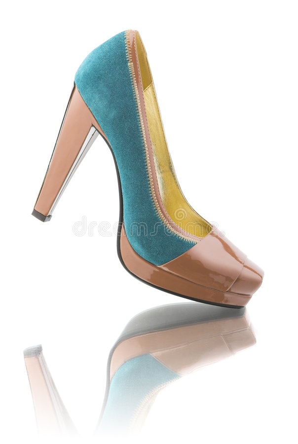 Woman shoe with reflection stock photography