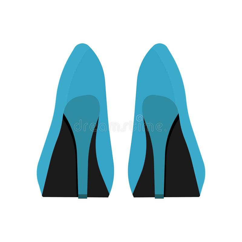 Woman shoes back view vector icon. Fashion female beauty boot foot design style. High heel accessory set lady stock illustration