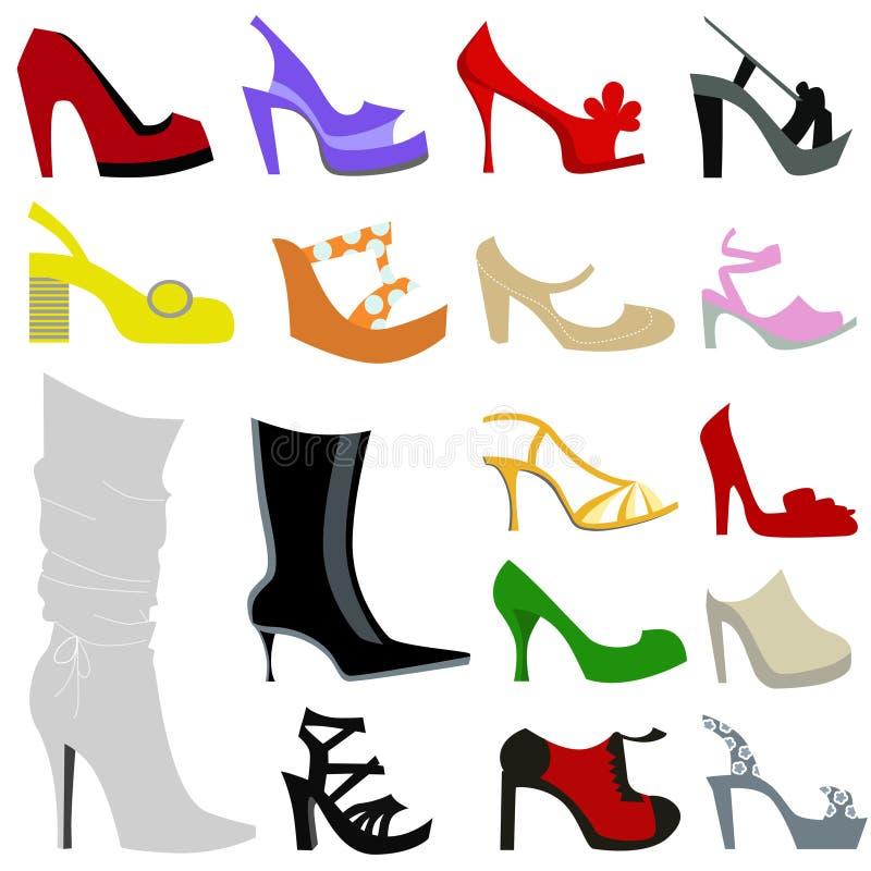 Woman shoes icon set vector illustration