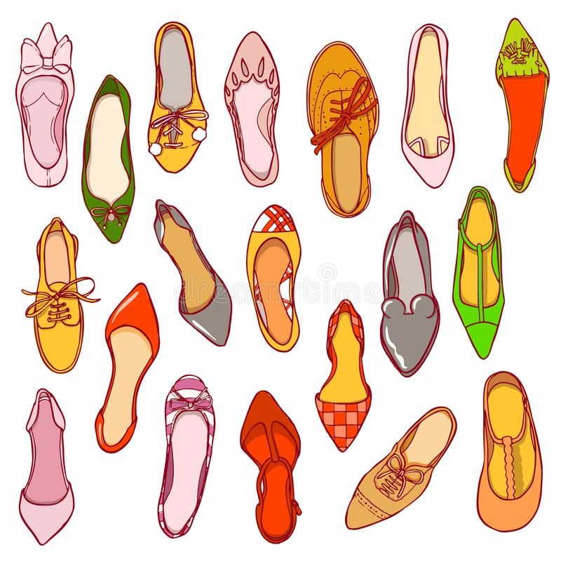 Woman shoes pattern. Vector texture of different footwear.  vector illustration