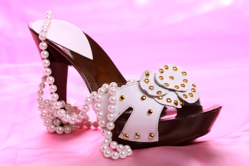 Download Woman shoes on satin stock photo. Image of high, elegance - 8636164