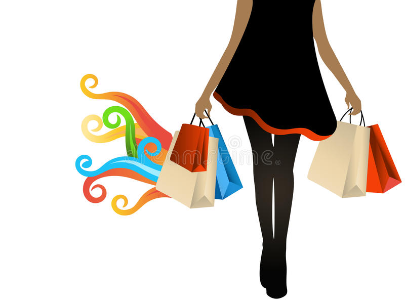 Woman shopper hot bargains. Woman walking with bags of purchases coil flames for hot bargains stock illustration
