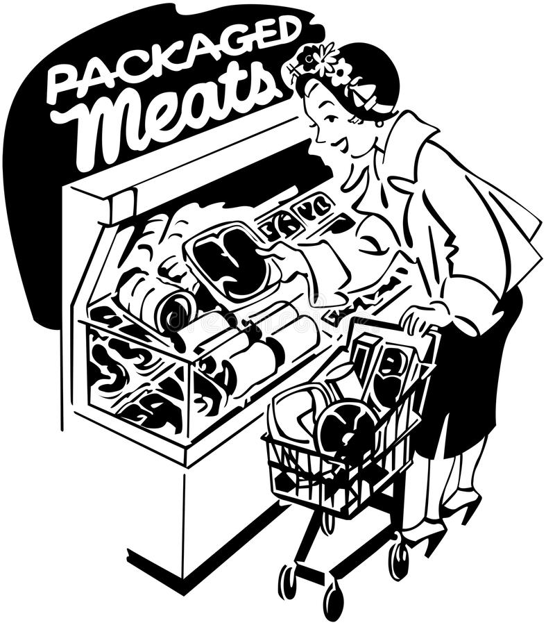 Woman Shopper At Meats stock illustration