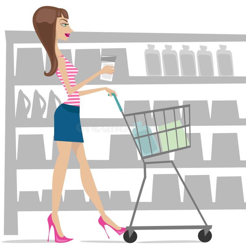 Woman shopping royalty free illustration