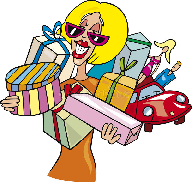 Woman on shopping royalty free illustration