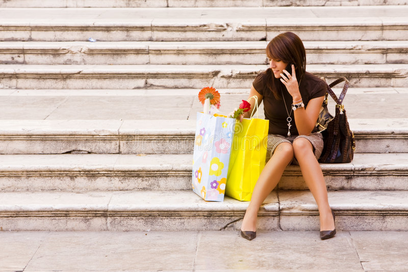 Woman after shopping royalty free stock photos