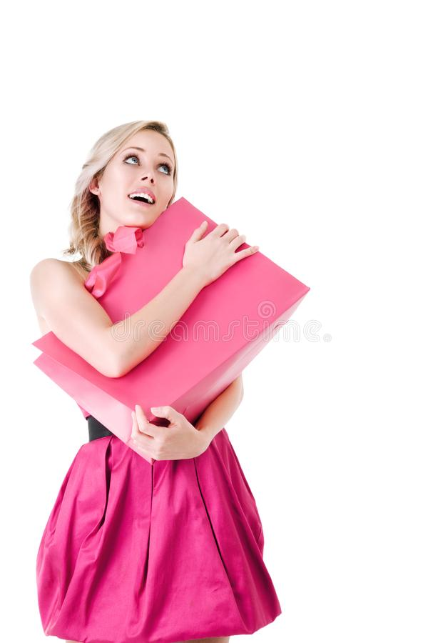 Woman with shopping bag stock photo