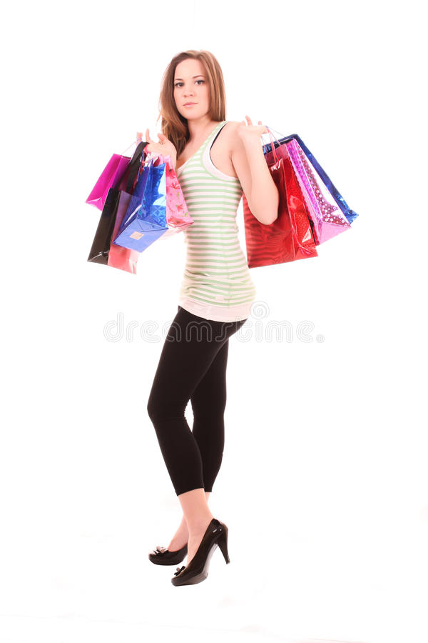 Download Woman with shopping bags stock photo. Image of attractive - 15102402