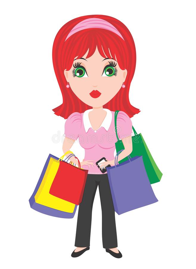Woman with Shopping Bags vector illustration